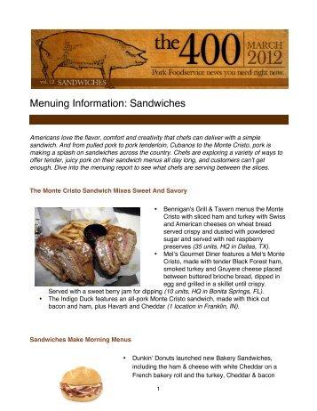 Menuing Information: Sandwiches - PorkFoodService.Com