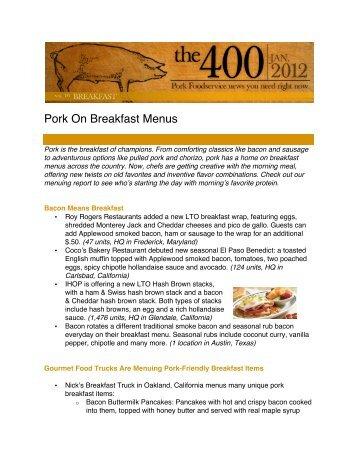 Pork On Breakfast Menus - PorkFoodService.Com