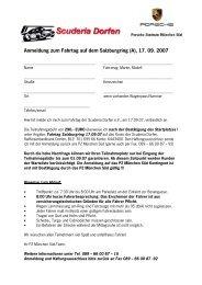 Anmeldung zum Fahrtag auf dem Salzburgring (A), 17. 09 ... - Porsche