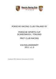 PORSCHE RACING CLUB FINLAND RY PORSCHE SPORTS CUP ...