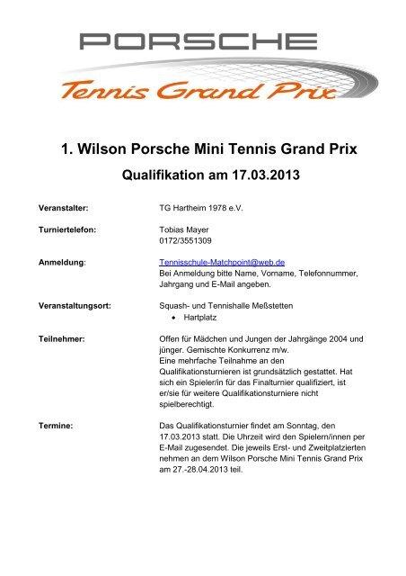1. Wilson Porsche Mini Tennis Grand Prix Qualifikation am 17.03.2013
