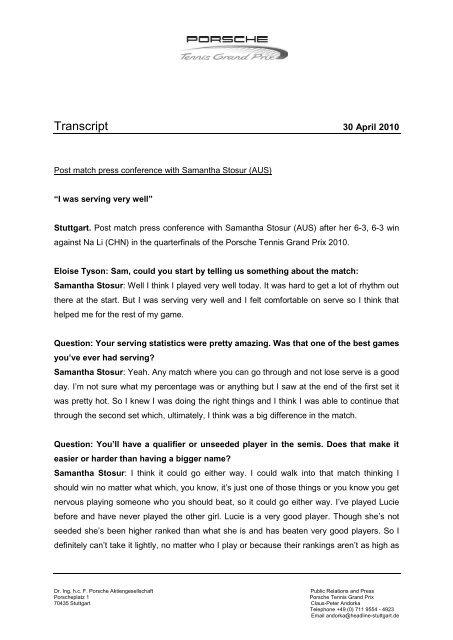 Transcript - Porsche Tennis Grand Prix