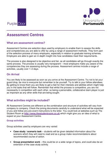 Assessment Centres ent Centres