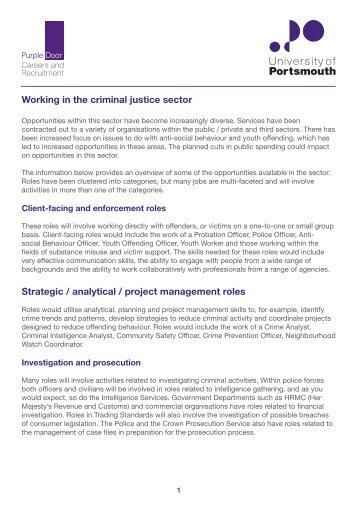Working in the criminal justice sector Strategic / analytical / project ...
