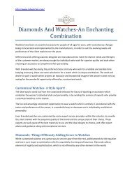 Diamonds And Watches-An Enchanting Combination | RS Diamond and Watches