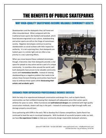 THE BENEFITS OF PUBLIC SKATEPARKS