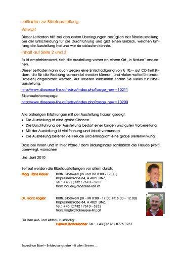 Leitfaden zur Bibelausstellung Vorwort Inhalt auf ... - Diözese Linz
