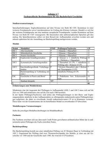Anhang A 7 Fachspezifische Bestimmungen für das Bachelorfach ...