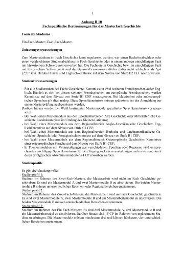 Anhang B10 Fachspezifische Bestimmungen für das Masterfach ...