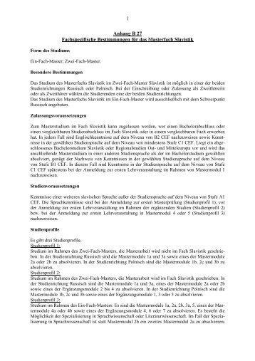 Anhang B27 Fachspezifische Bestimmungen für das Masterfach ...