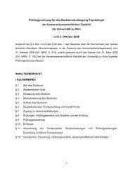 - 1 - Prüfungsordnung für den Bachelorstudiengang Psychologie der ...