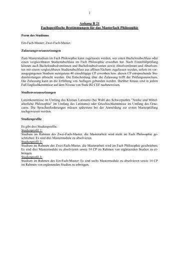 Anhang B21 Fachspezifische Bestimmungen für das Masterfach ...