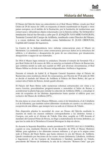 Historia del Museo - Portal de Cultura de Defensa