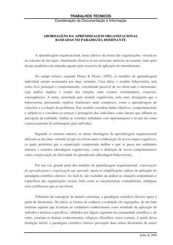 TRABALHOS TÉCNICOS Coordenação de Documentação e ...