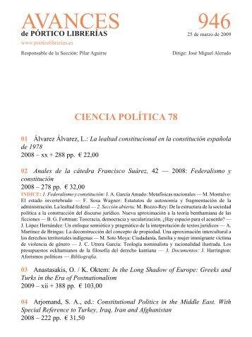 Portico Avances 946 - Ciencia politica 78 - Pórtico librerías