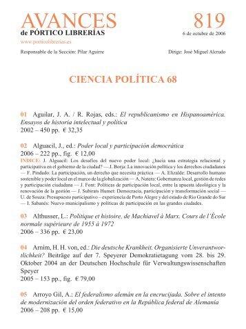 Portico Avances 819 - Ciencia politica 68 - Pórtico librerías