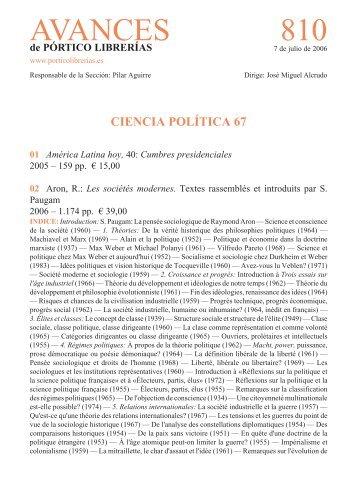 Portico Avances 810 - Ciencia politica 67 - Pórtico librerías