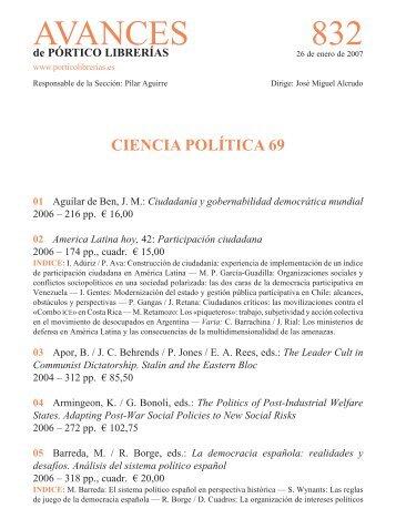 Portico Avances 832 - Ciencia politica 69 - Pórtico librerías