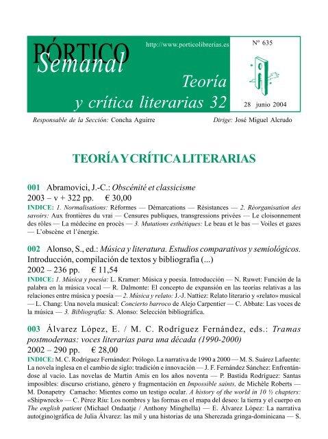 Portico Semanal 635 Teoria Y Critica Literarias 32