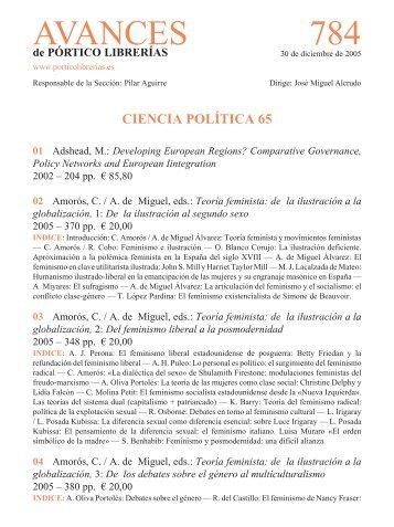 Portico Avances 784 - Ciencia politica 65 - Pórtico librerías