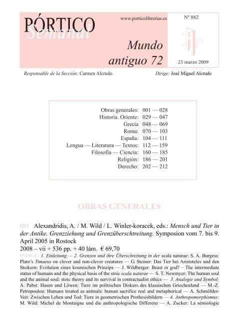 Portico Semanal 882 Mundo Antiguo 72 Pórtico Librerías