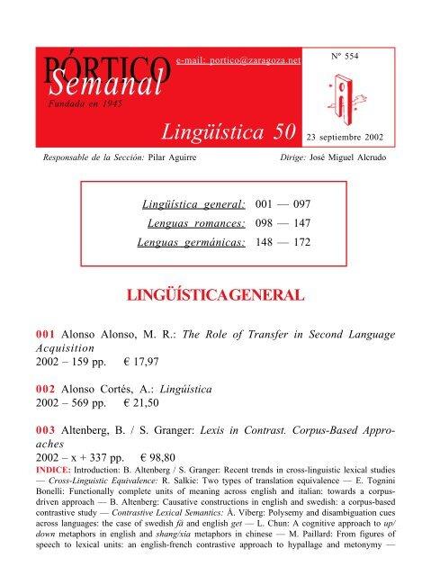 Lingüística 50 Pórtico Librerías