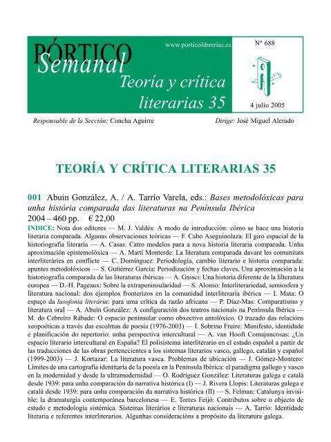 Portico Semanal 688 Teoria Y Critica Literarias 35