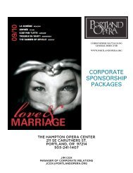 CORPORATE SPONSORSHIP PACKAGES - Portland Opera