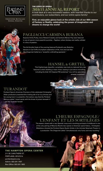 2010/11 Annual Report (.pdf) - Portland Opera