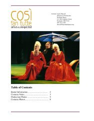 Table of Contents - Portland Opera
