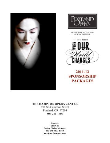 2011-12 SPONSORSHIP PACKAGES - Portland Opera
