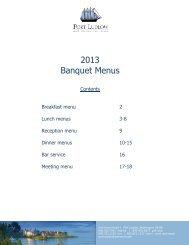 2013 Banquet Menus - Port Ludlow Resort