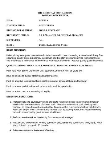 Host Person - Port Ludlow Resort