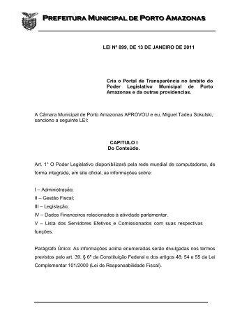 lei nº 899, de 13 de janeiro de 2011 - Prefeitura Municipal de Porto ...
