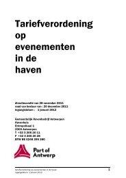 Tariefverordening op evenementen in de haven - Port of Antwerp