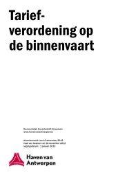 Tariefverordening op de binnenvaart - 2013 ... - Port of Antwerp