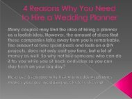 4 Reasons Why You Need to Hire a Wedding Planner