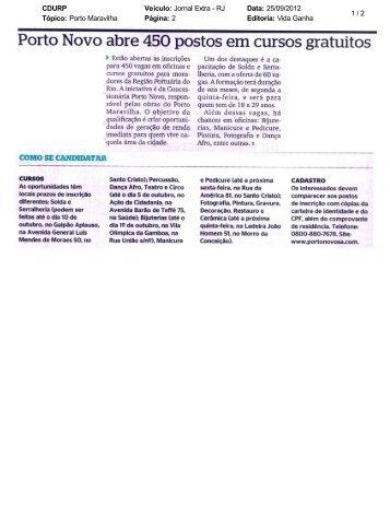 CDURP Veículo: Jornal Extra - RJ Data: 25/09 ... - Porto Maravilha