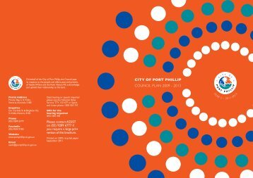 BACK COver CITY OF POrT PHILLIP council plan 2009 - 2013