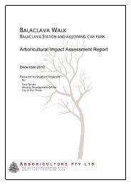 BALACLAVA WALK Arboricultural Impact ... - City of Port Phillip