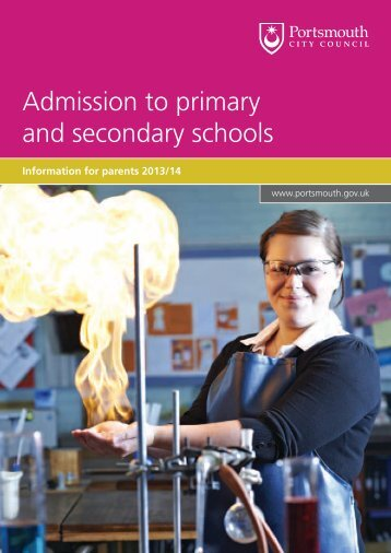Admission to primary and secondary schools - Portsmouth City ...
