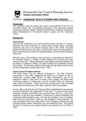 Gunwharf Quays information sheet - Portsmouth City Council