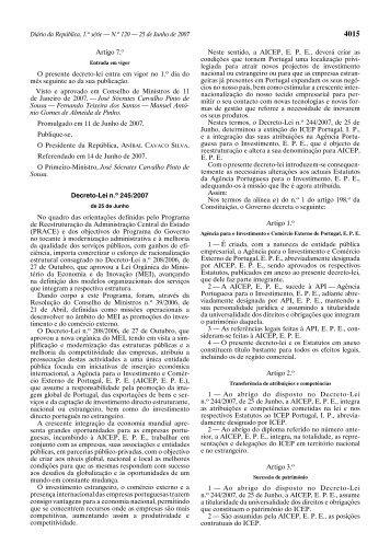 Estatutos da Agência para o Investimento e Comércio Externo de ...