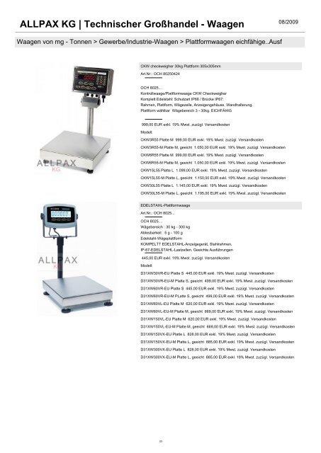 Technischer Großhandel - Waagen - Allpax GmbH & Co. KG