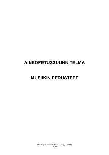 AINEOPETUSSUUNNITELMA MUSIIKIN PERUSTEET - Porvoo
