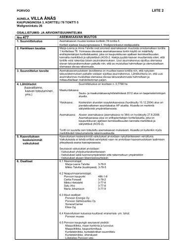 osallistumis- ja arviointisuunnitelma - Porvoo