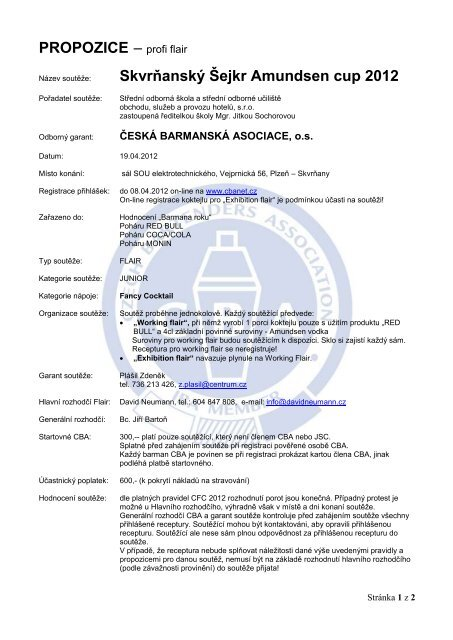Skvrňanský Šejkr Amundsen cup 2012 - Česká barmanská asociace