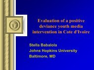 Evaluation of a positive deviance youth media intervention in Cote d ...