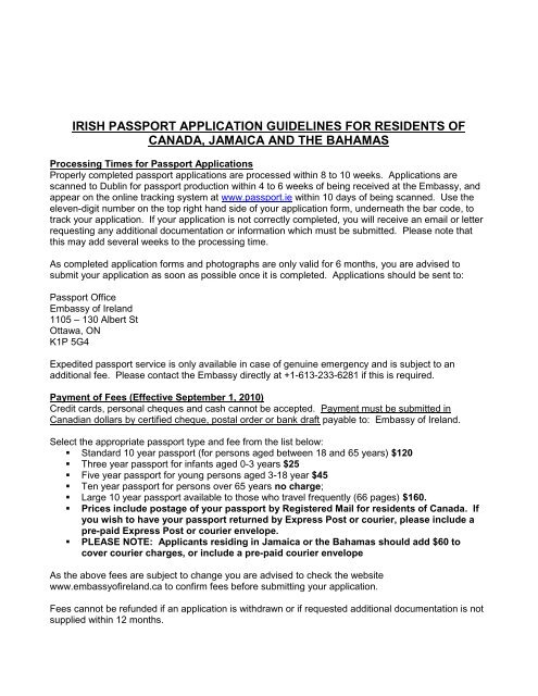 irish passport application guidelines for residents of canada