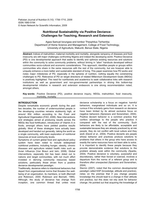 Nutritional Sustainability via Positive Deviance - Pakistan Journal of ...